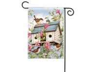 Garden Flag Spring Birdhouse with Clematis