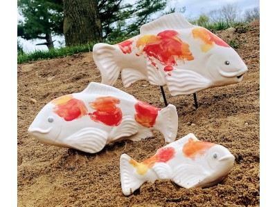 Ceramic Kohaku Koi-medium